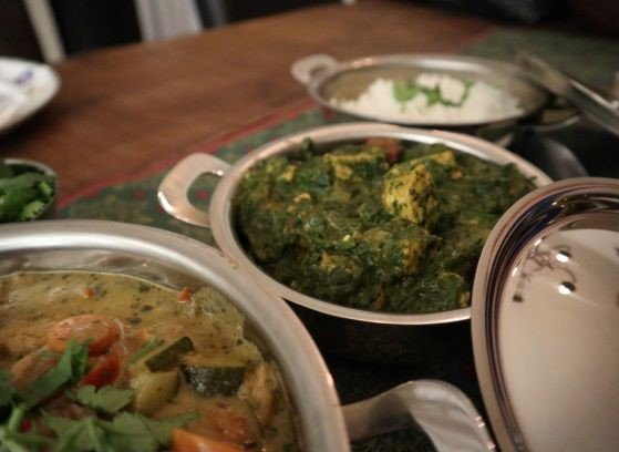 vegan, green comfort food, vegan curry, saag tempeh, vegan saag paneer